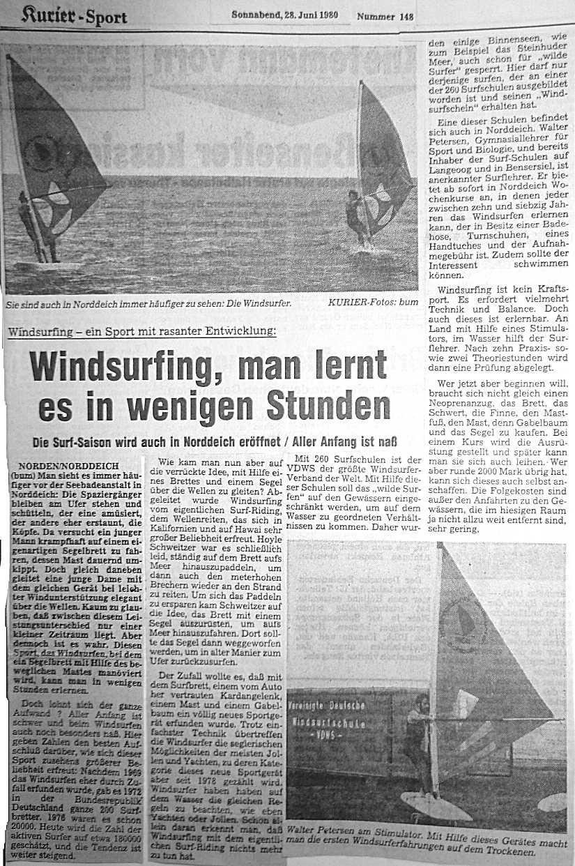 Windsurfing, man lernt es in wenigen Stunden. Artikel von 1980
