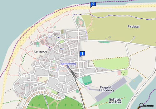 Lage: Surfzentrum, Strand. OpenStreetMap, made with staticmap