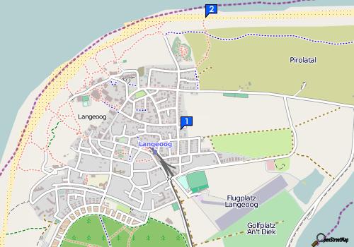 Karte: Lage von Haus & Strand